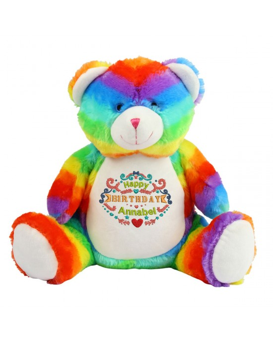 Personalised Birthday Gift  Embroidered Large Rainbow Teddy Bear