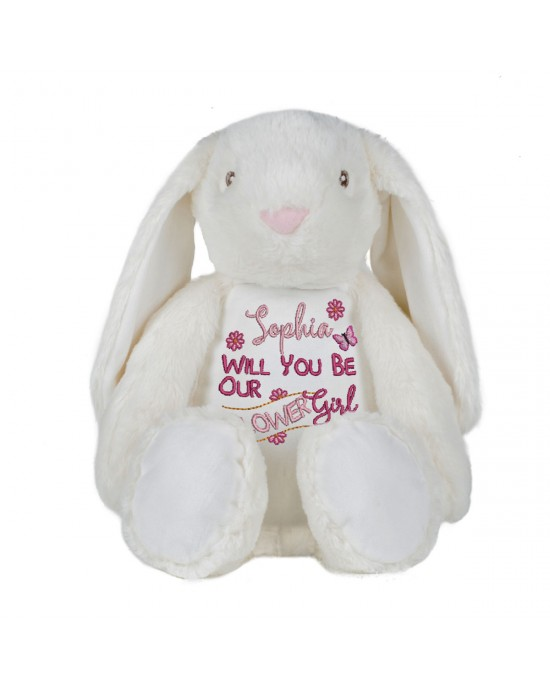 Embroidered Large Bunny Rabbit Cute Keep sake Personalised Will You Be Our Flower Girl Gift