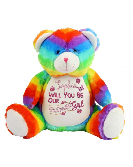 Embroidered Large Rainbow Teddy Bear Personalised Will you be flower girl Gift