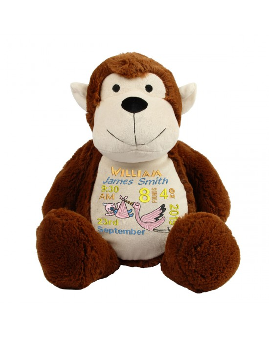 Personalised Embroidered New Born Baby Gift Keep sake Large Monkey