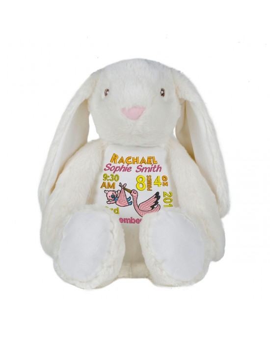 Personalised Embroidered New Born Baby Gift Keep sake Large Bunny Rabbit