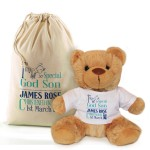 Personalised Brown Bear In A Bag, God Parent Christening, Baptism Gift.