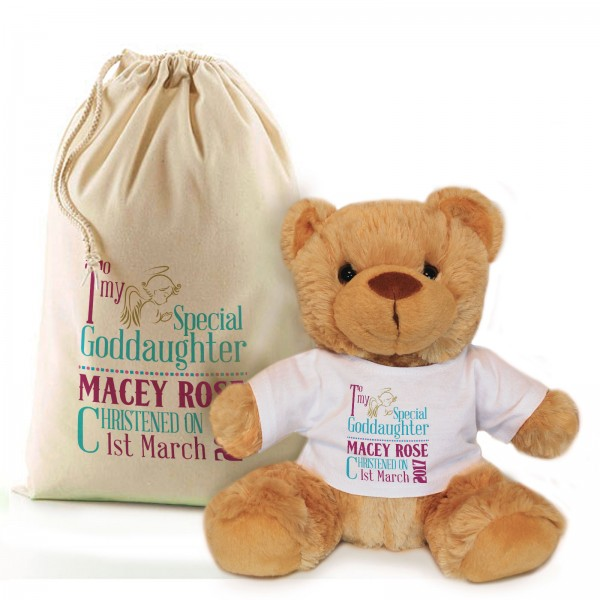 Personalised Brown Bear In A Bag, God Parent Christening, Baptism Gift.