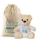 Personalised Cream Bear In A Bag, God Parent Christening, Baptism Gift.