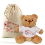 Personalised Flower Girl, Bridesmaid Thank You Teddy Bear In A Bag Gift