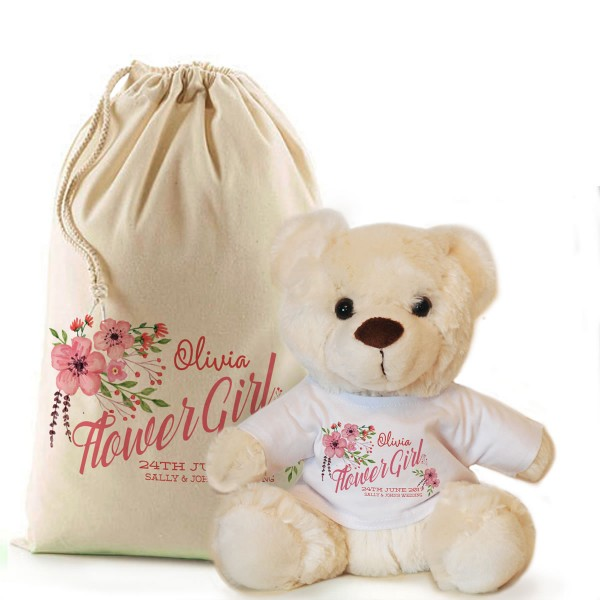 Personalised Flower Girl, Bridesmaid Thank You Cream Teddy Bear In A Bag Gift