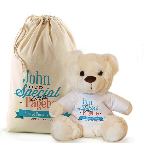 Thank you for being our Page Boy personalised Cream Teddy Bear Gift.