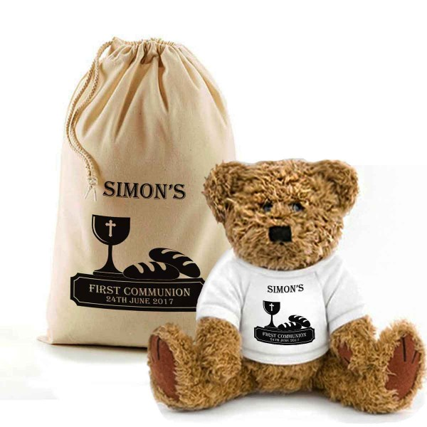 First Communion Teddy Bear In A Bag. Personalised for any occasion, Lovely Gift, Present Idea.