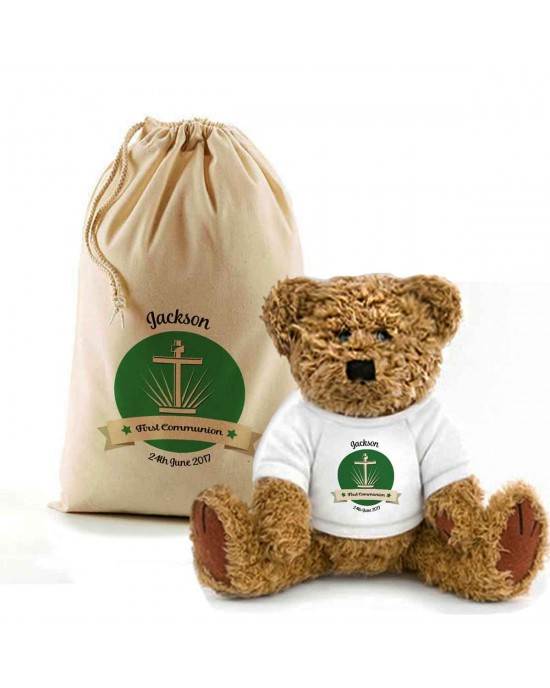 First Communion Christening Personalised Teddy Bear In A Bag.