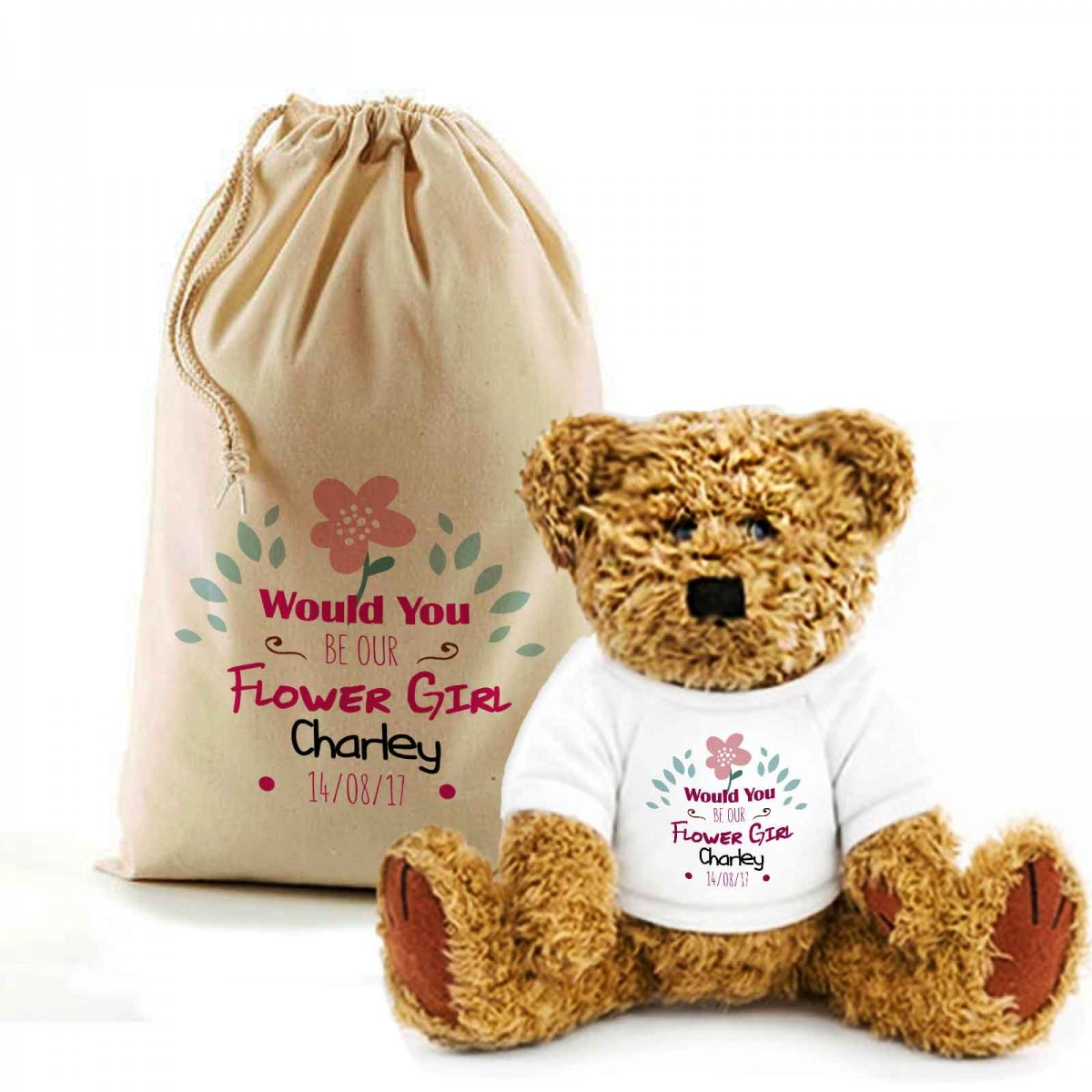Personalised Will You Be My Flowergirl Teddy Bear In A Bag Lovely