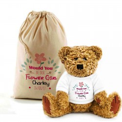 Personalised Will You Be My Flowergirl Teddy Bear In A Bag.