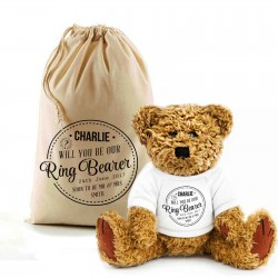 Personalised Will You Be My Ring Bearer Larger Teddy Bear In A Bag.