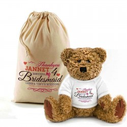 Personalised Thank you for being our Flowergirl Teddy Bear In A Bag.