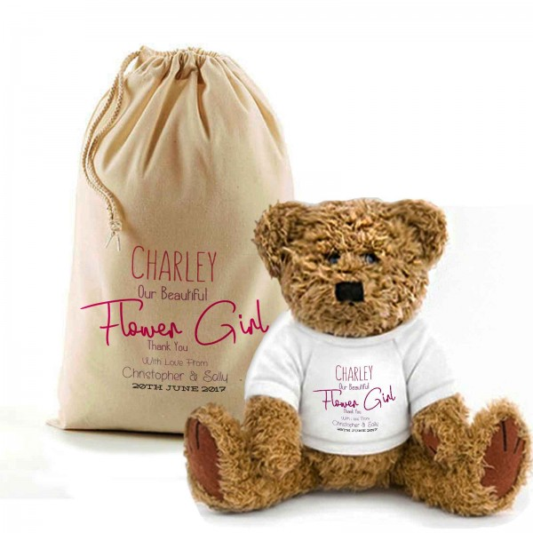 Personalised Teddy Bear In A Bag. Wedding Favour / Thank You For Being Our Flower Girl.