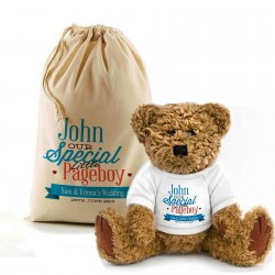 Personalised Teddy Bear In A Bag. Wedding Favour / Thank You For Being Our Page Boy.