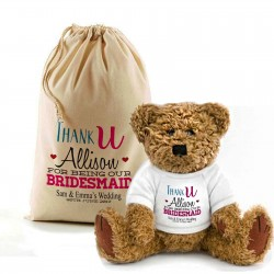 Personalised Teddy Bear In A Bag. Wedding Favour / Thank You For Being Our Bridesmaid.