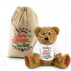 Merry Christmas Design Bear In A Bag Teddy. Lovely Gift, Present Idea. Change the text To Personalise.