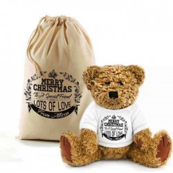 Personalised Bear In A Bag Merry Christmas Design Teddy. Lovely Gift, Present Idea. Change the text To Personalise.