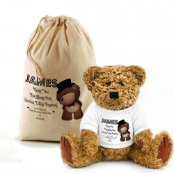Teddy Bear In A Bag . Lovely Gift, Present Idea. Change the text To Personalise. Boy teddy with a top hat, for your page boys...
