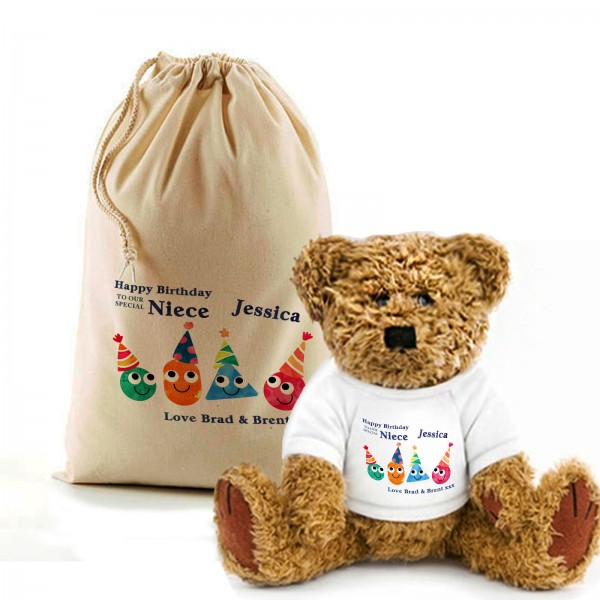 Fun Birthday Teddy Bear In A Bag. Personalised for any occasion, Lovely Gift, Present Idea. Change the text To Personalise.