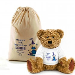 Birthday Message Teddy Bear In A Bag, Blue For Boys