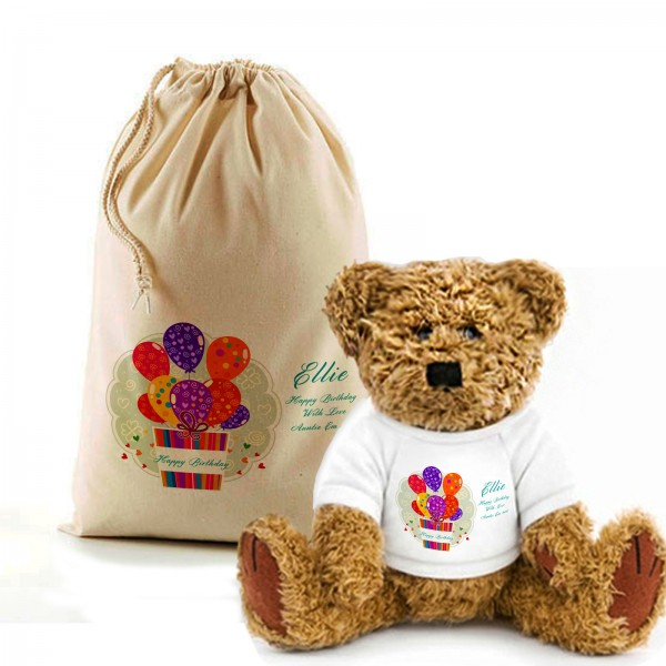 Birthday Balloon Teddy Bear In A Bag. Personalised for any occasion, Lovely Gift, Present Idea.