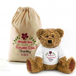 Will You Be Our Flowergirl Personalised Teddy Bear In A Bag.