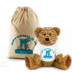 Birthday Teddy Bear In A Bag. Personalised for any occasion, Lovely Gift, Present Idea. Available in colours for boys & Girls...