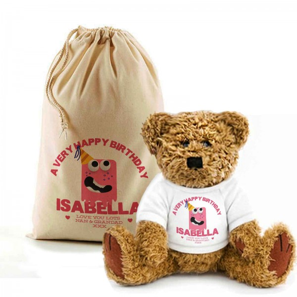 Birthday Monster Teddy Bear In A Bag. Personalised for any occasion, Lovely Gift, Present Idea. Available in colours for boys & Girls...
