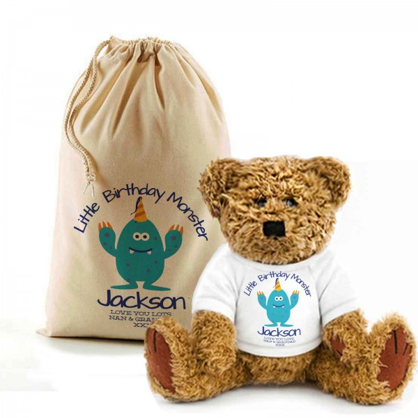Monster Birthday Teddy Bear In A Bag. Personalised for any occasion, Lovely Gift, Present Idea. Available in colours for boys & Girls...
