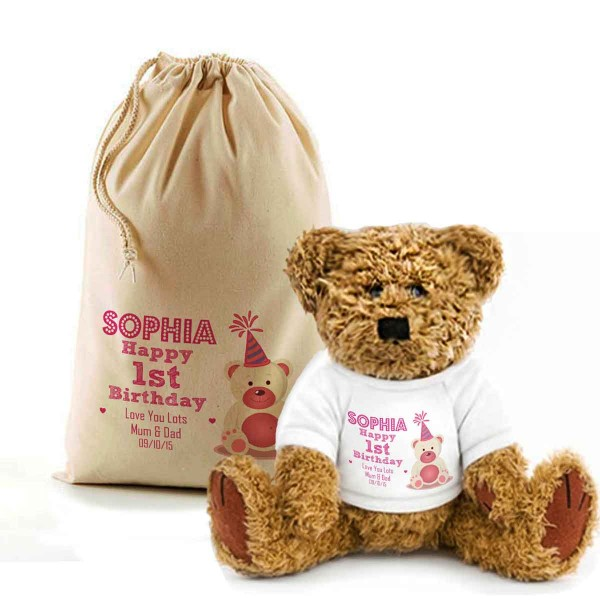 Birthday Teddy Bear In A Bag. Personalised for any occasion, Lovely Gift, Present Idea. Change the text To Personalise.