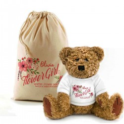 Personalised Teddy Bear In A Bag. Flower girl teddy bear floral-design.