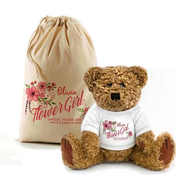 Personalised Teddy Bear In A Bag. Flower girl teddy bear floral-design.