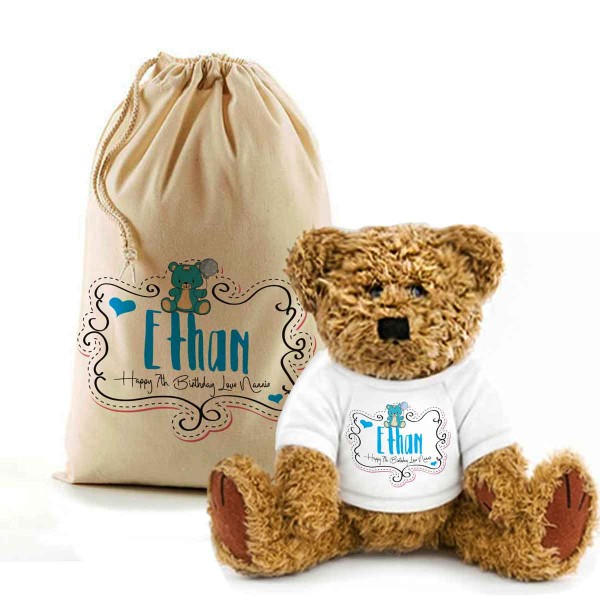Teddy Bear In A Bag. Personalised for any Birthday, Lovely Happy Birthday Gift