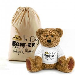 Personalised Ring Bearer Teddy Bear In A Bag thank you gift.