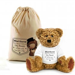 Teddy Bear In A Bag. Personalised for any occasion with your message, Lovely Gift, Present Idea. Top Hat Teddy design