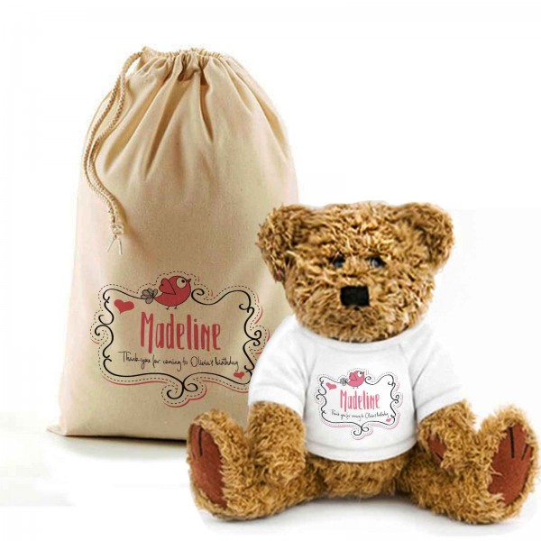 Happy Birthday Teddy Bear In A Bag. Personalised for any Birthday, Lovely Gift Idea.
