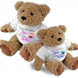 Personalised Birthday Teddy Bear. Birthdays, Christening Gift Idea. 2 Sizes Of Bear