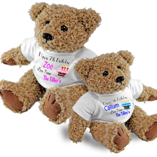 Personalised Birthday Teddy Bear. Birthdays, Christening Gift Idea. 2 Sizes Of Bear