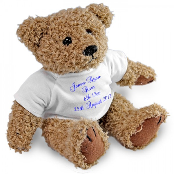 Personalised Bear, Birth Baby Boy Christening, Baptism, Naming Day 2 Sizes. Perfect Gift Idea