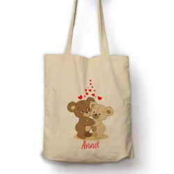 Personalised Two Teddys Cuddeling Cotton Shopping Shoulder bag