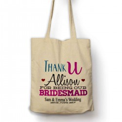 Pretty Personalised Thank you for being our Bridesmaid tote bag