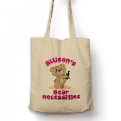 Personalised Bear Necessities Cute Bear With a bottle of wine Cotton Shopping Shoulder bag