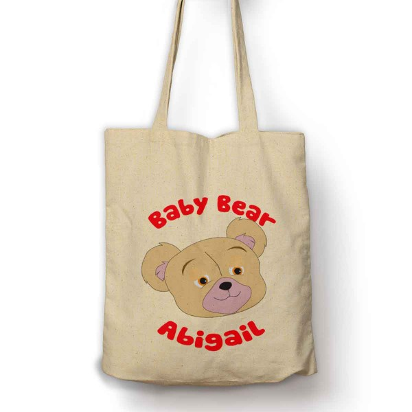 Personalised Baby Bear Cotton Shopping Shoulder bag