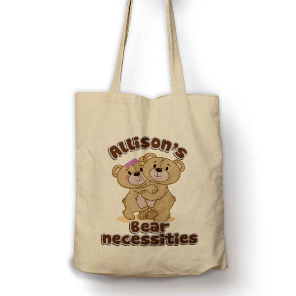 Personalised Bear Necessities Cute Bear Cotton Shopping Shoulder bag