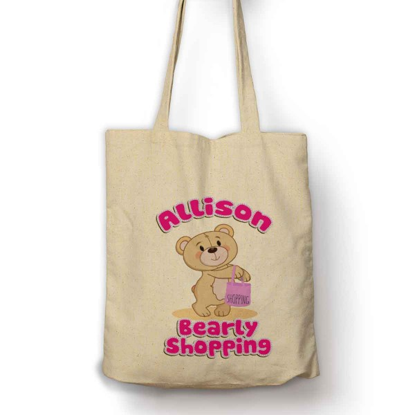 Personalised Bearly Shopping Cotton Shopping Shoulder bag