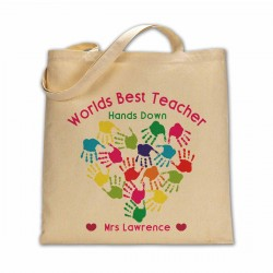 Personalised Worlds best Teacher hands down cotton tote bag.