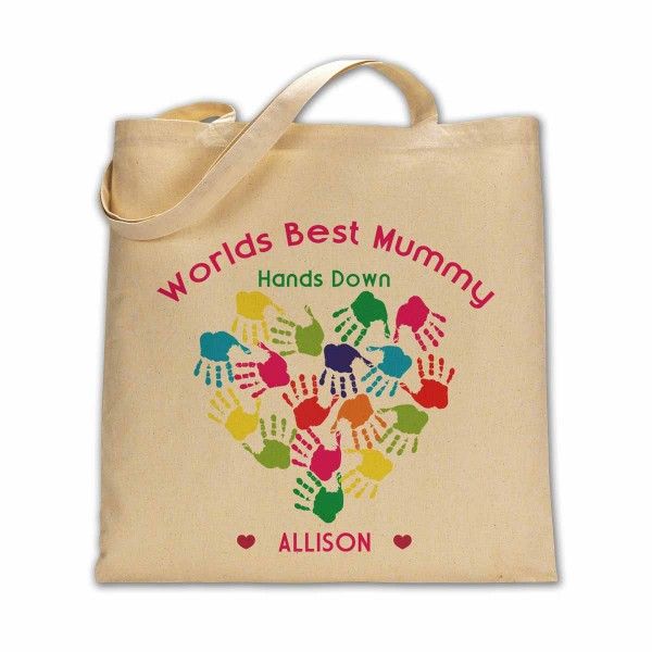 Personalised Worlds best mummy hands down cotton tote bag.