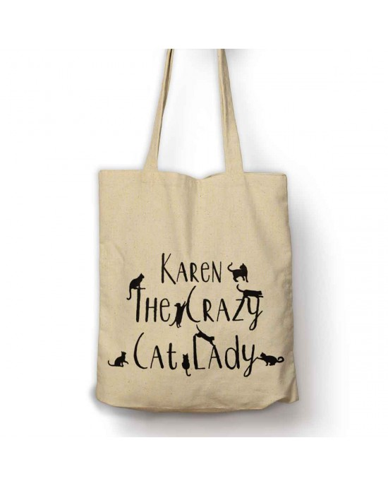 Personalised Crazy Cat Lady tote bag