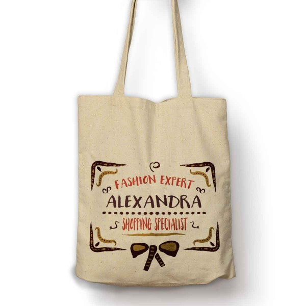 Colourful Funky Design Fashion expert Personalised bag with your name.